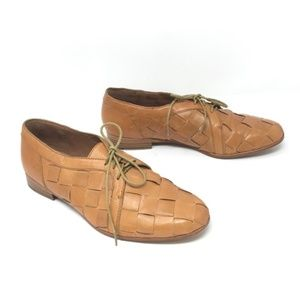 Joie Stone In Love Cognac Leather Oxfords Size 39